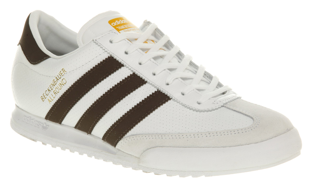 ... Image is loading Mens-Adidas-Beckenbauer-White-Brown-Trainers-Shoes . d1382bba9