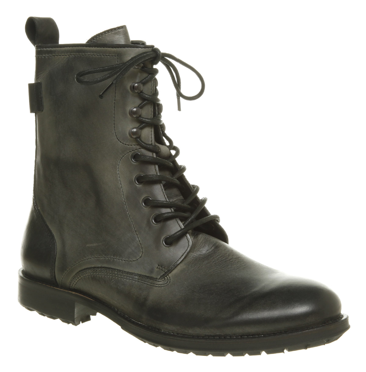 Mens Hudson Westland Lace Up Washed Black Leather High Ankle Boot ...