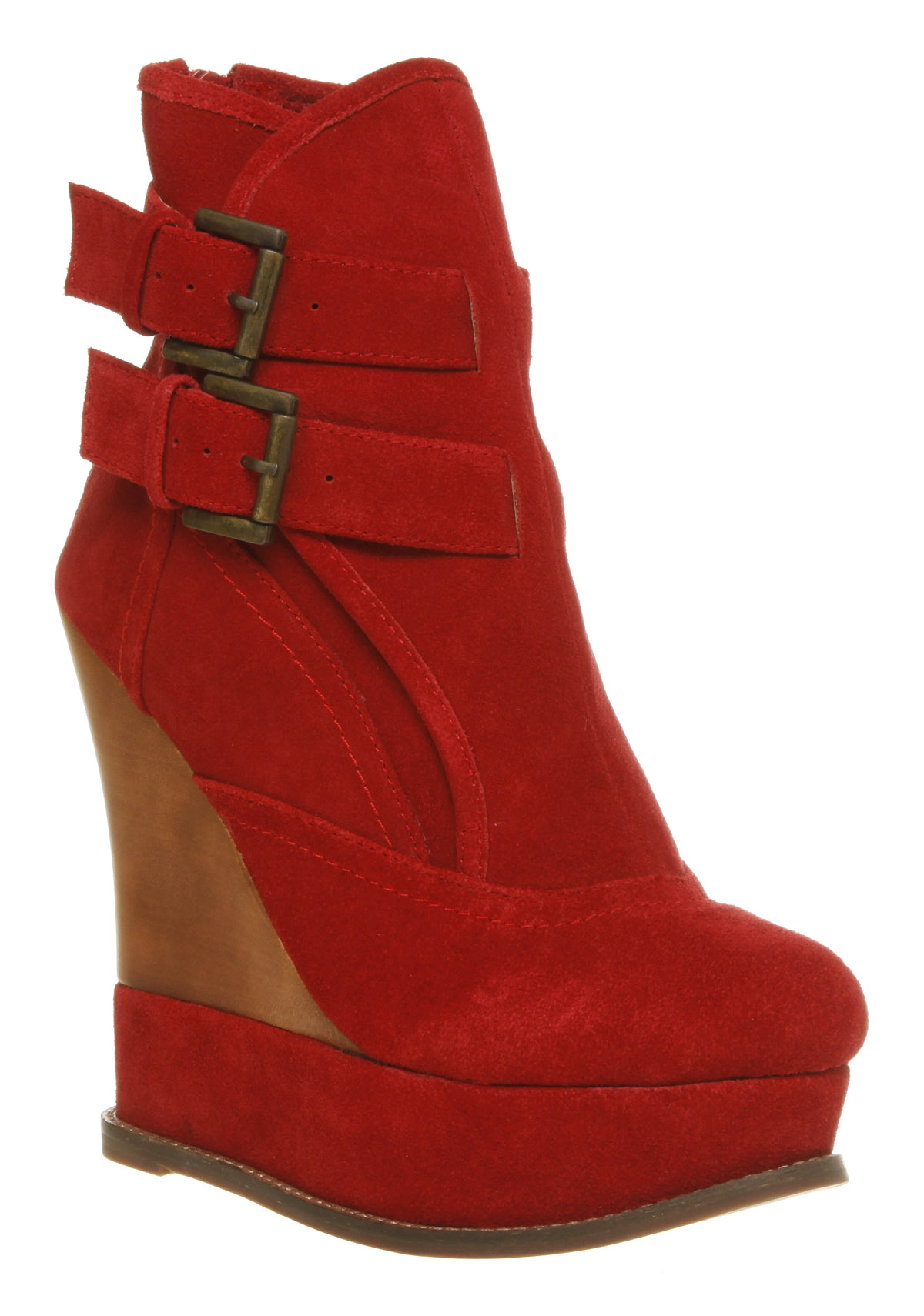 Luxury Womens Fly London Yama Wedge Ankle Boot RED SUEDE Boots