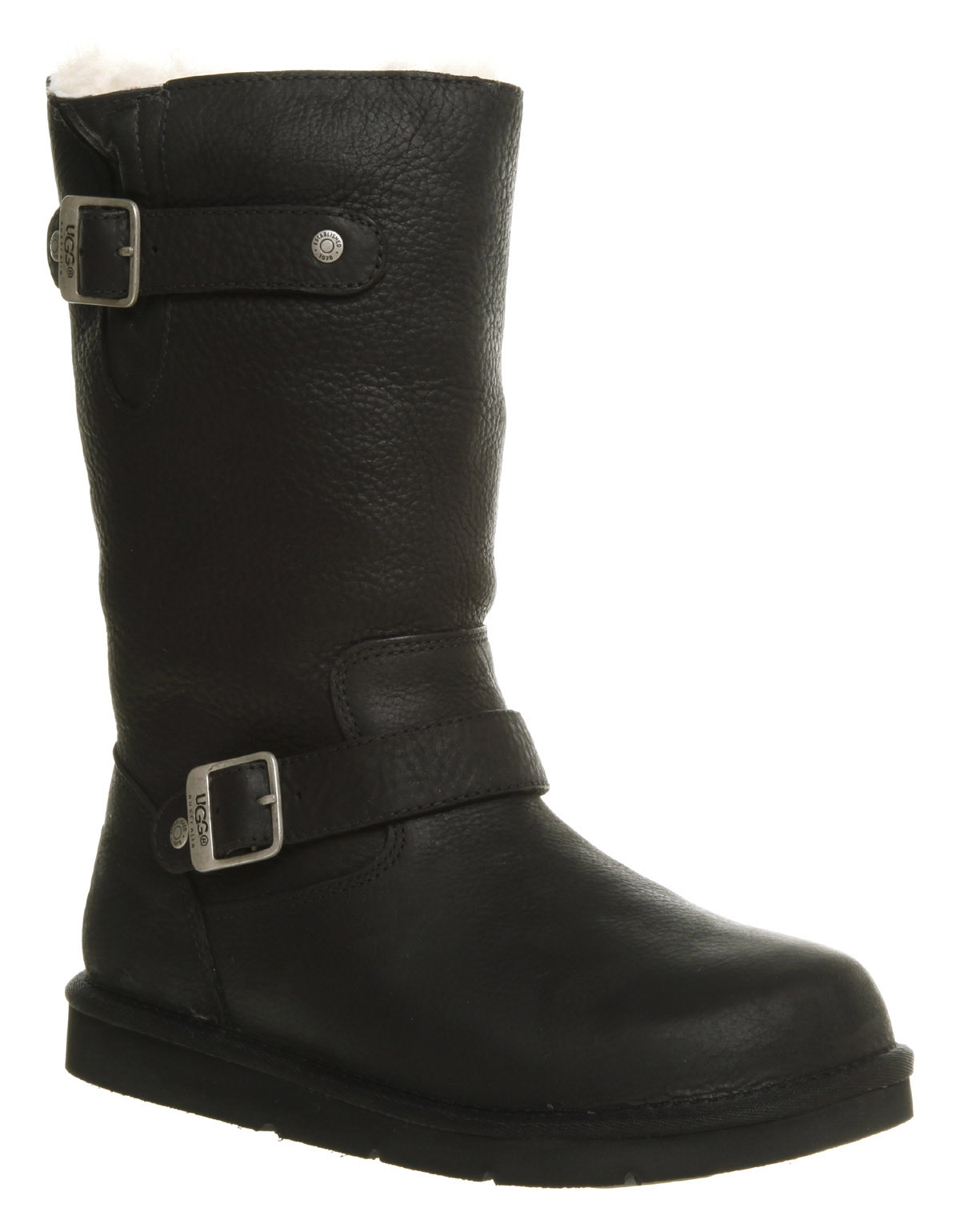 Excellent   Boots  Womens Black Biker Leather Style Flat Wide Calf Boots