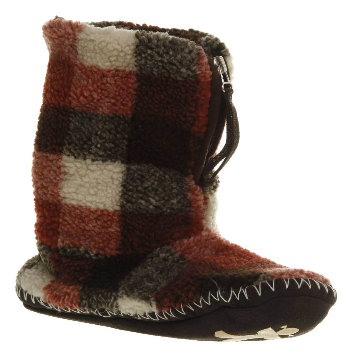 Womens-Bedroom-Athletics-Macgraw-Choc-Red-Cream-Checkered-Fleece-Flat-Slippers