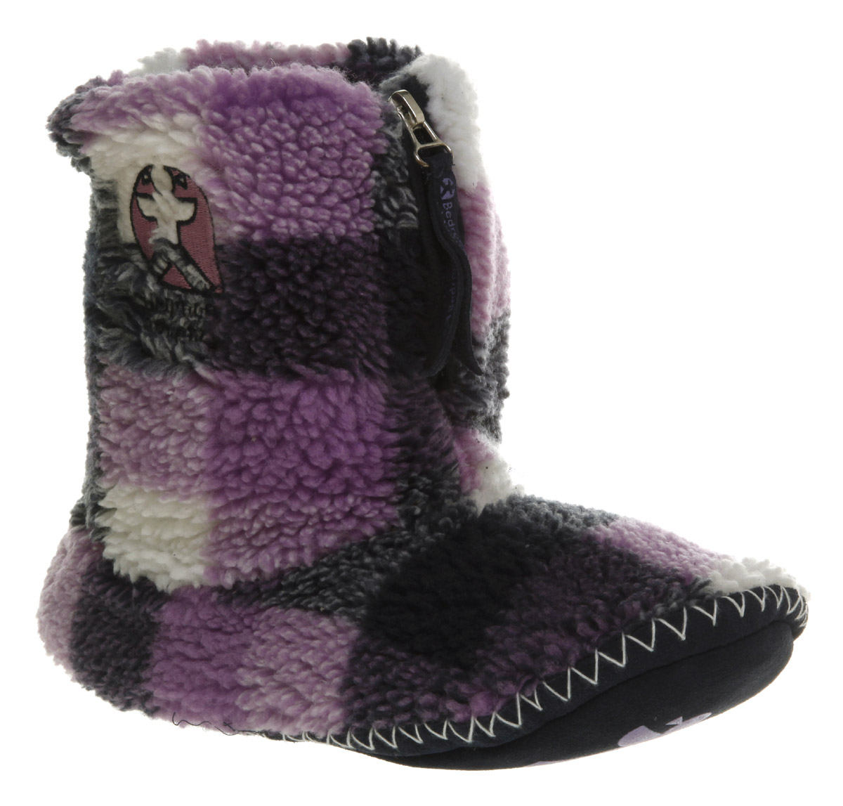 Womens-Bedroom-Athletics-Macgraw-Navy-Lilac-Checkered-Fleece-Flat-Slippers