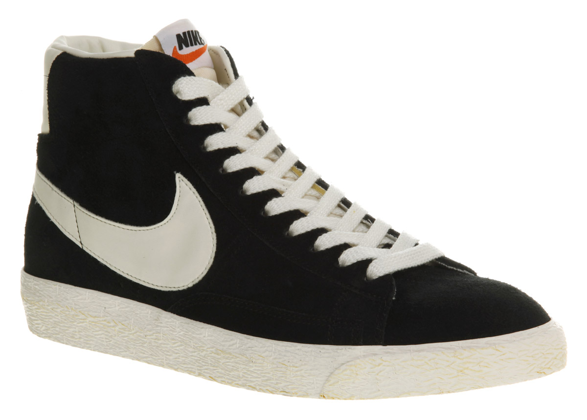 nike blazer black and white suede shoes