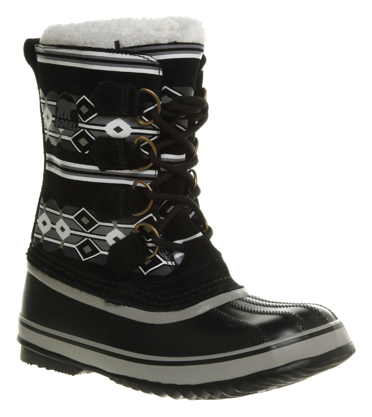 womens sorel 1964 pac 2 graphic black waterproof suede
