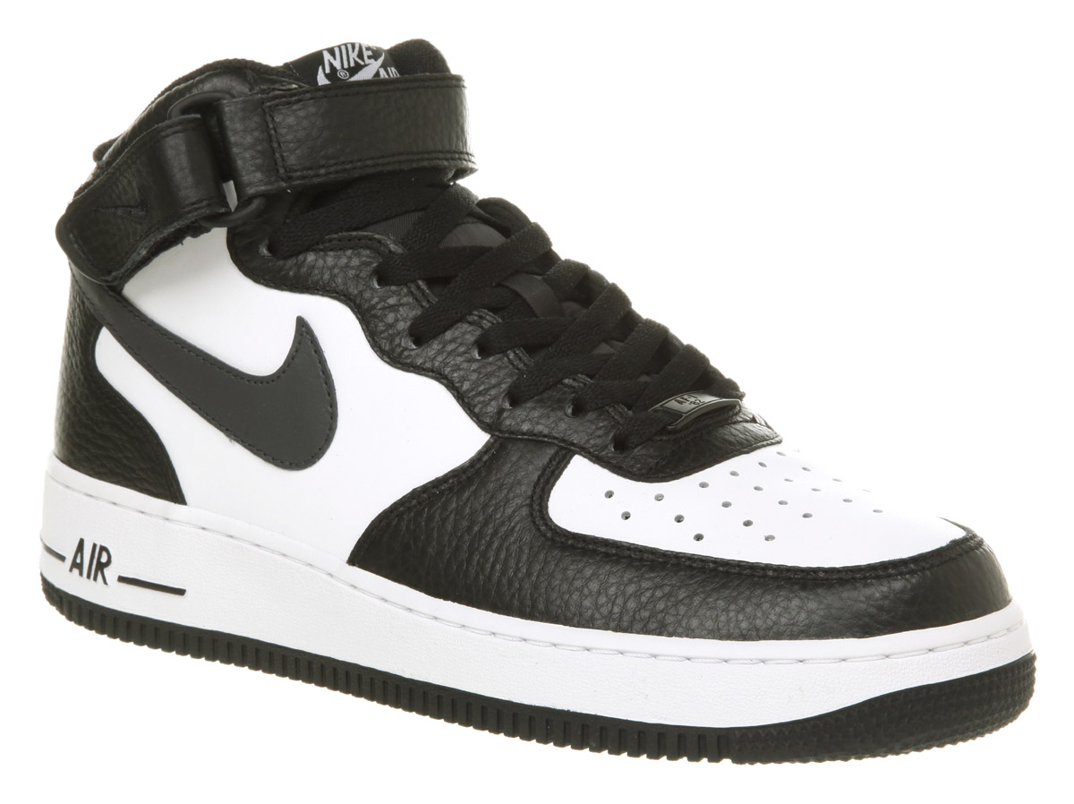 Image is loading Mens-Nike-Air-Force-1-Mid-Black-Anthracite-