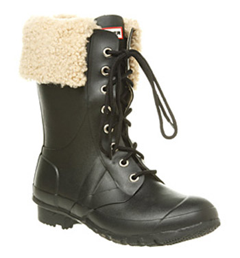 Womens-Hunter-Regent-Adley-Shearling-Cuff-Black-Rubber-Lace-Up-Boots