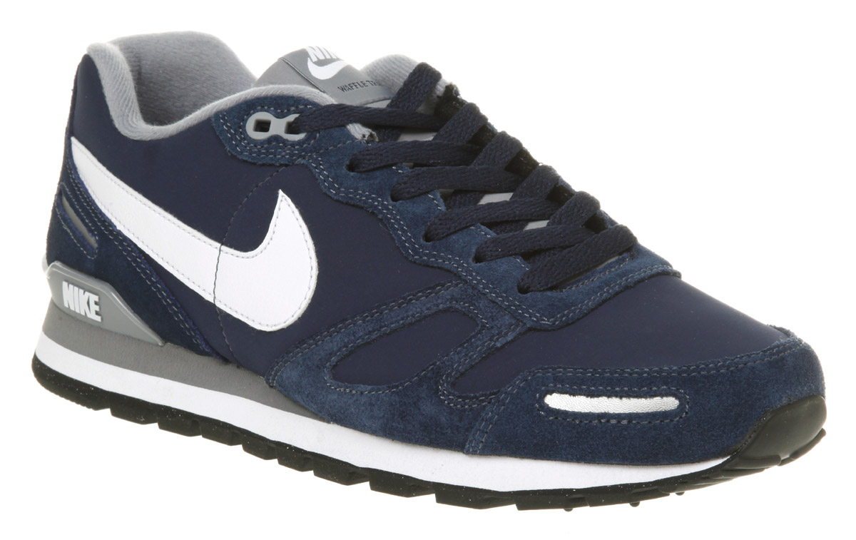 mens nike air waffle navy grey suede trainer shoes ebay. Black Bedroom Furniture Sets. Home Design Ideas