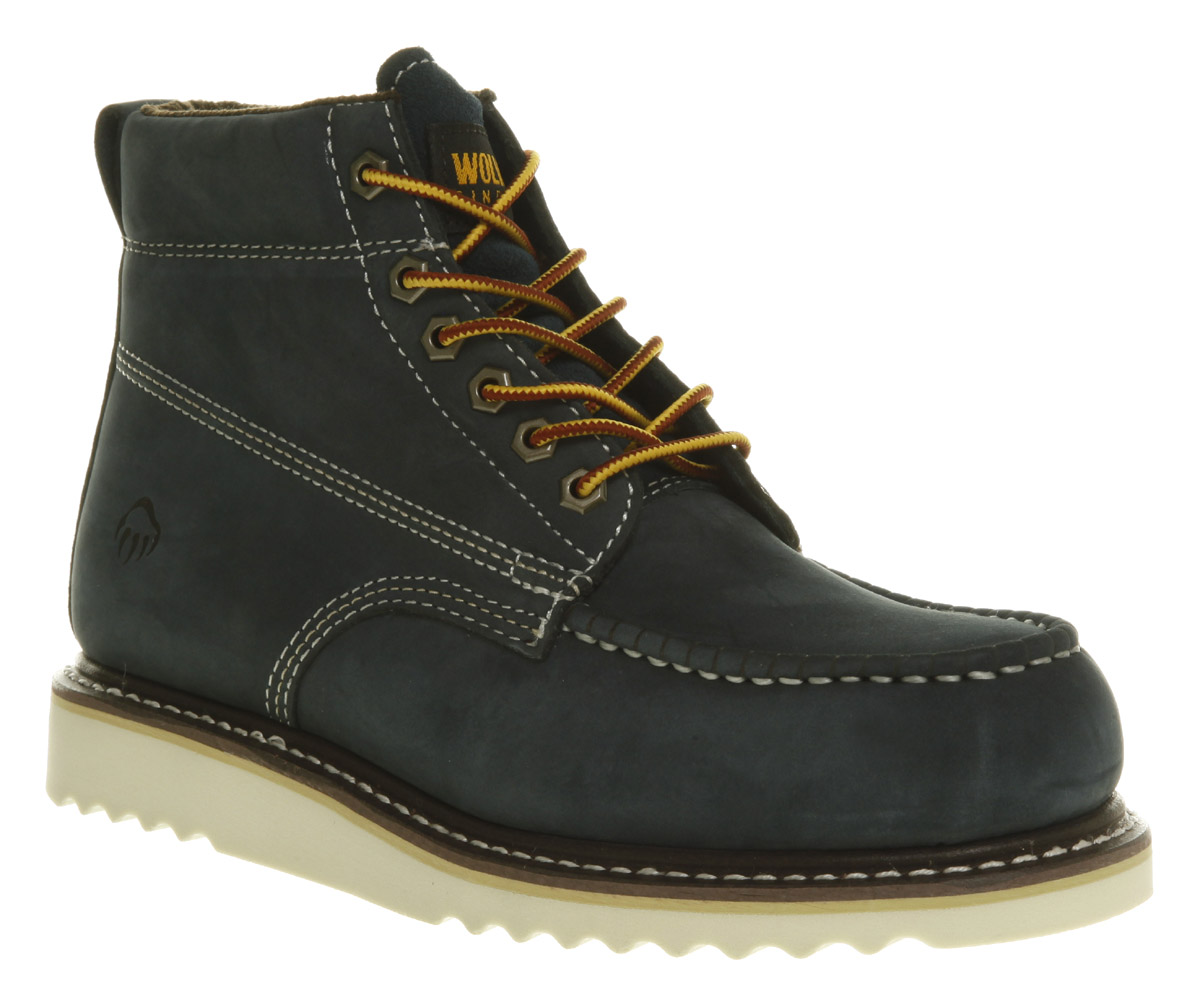 Mens-Wolverine-Apprentice-Mid-Navy-Nubuck-Lace-Up-Boots