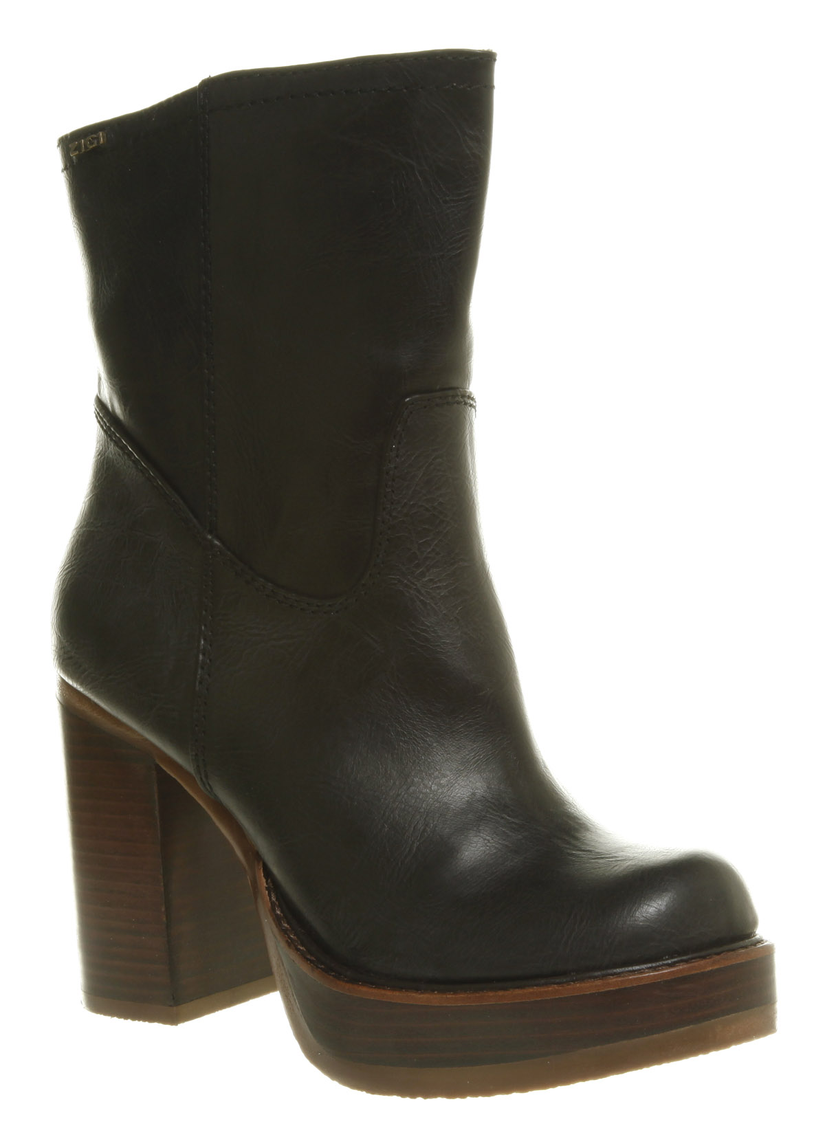 Black Chunky Heels Platform Ankle Boots