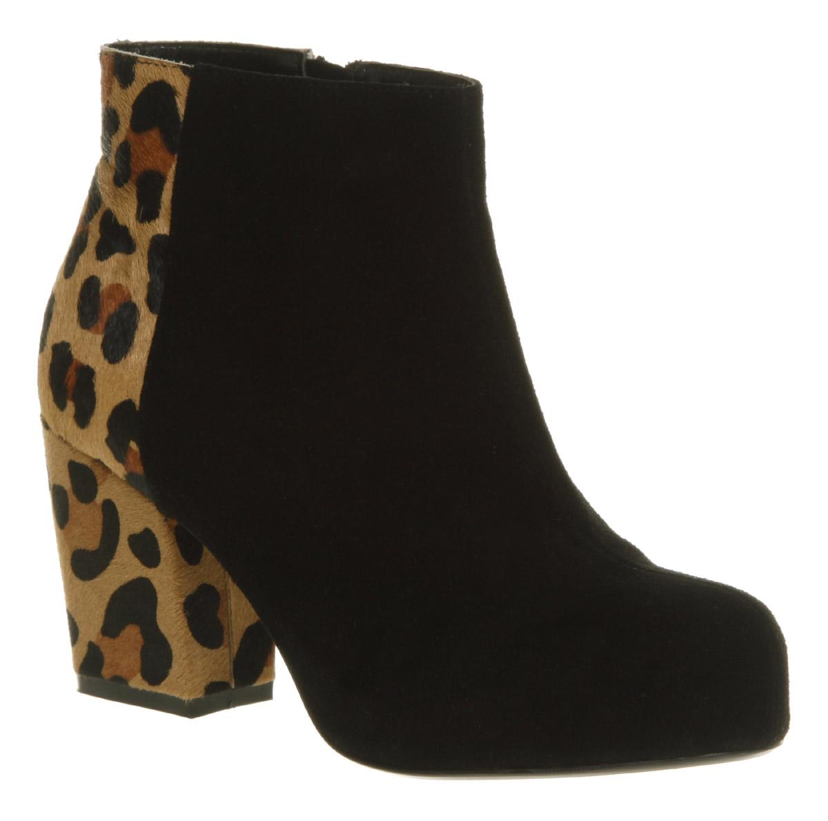 womens office black leopard suede chunky heel