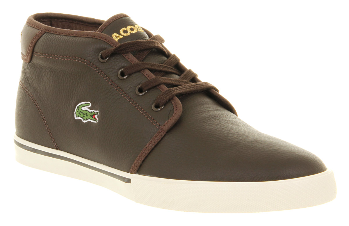 mens lacoste thill brown leather casual lace up trainer