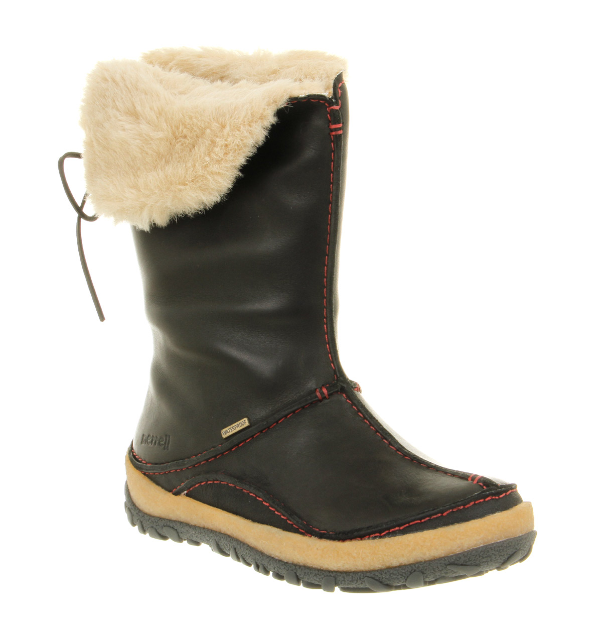 Womens Merrell Oslo Faux Fur Lining Waterproof Black Leather ...