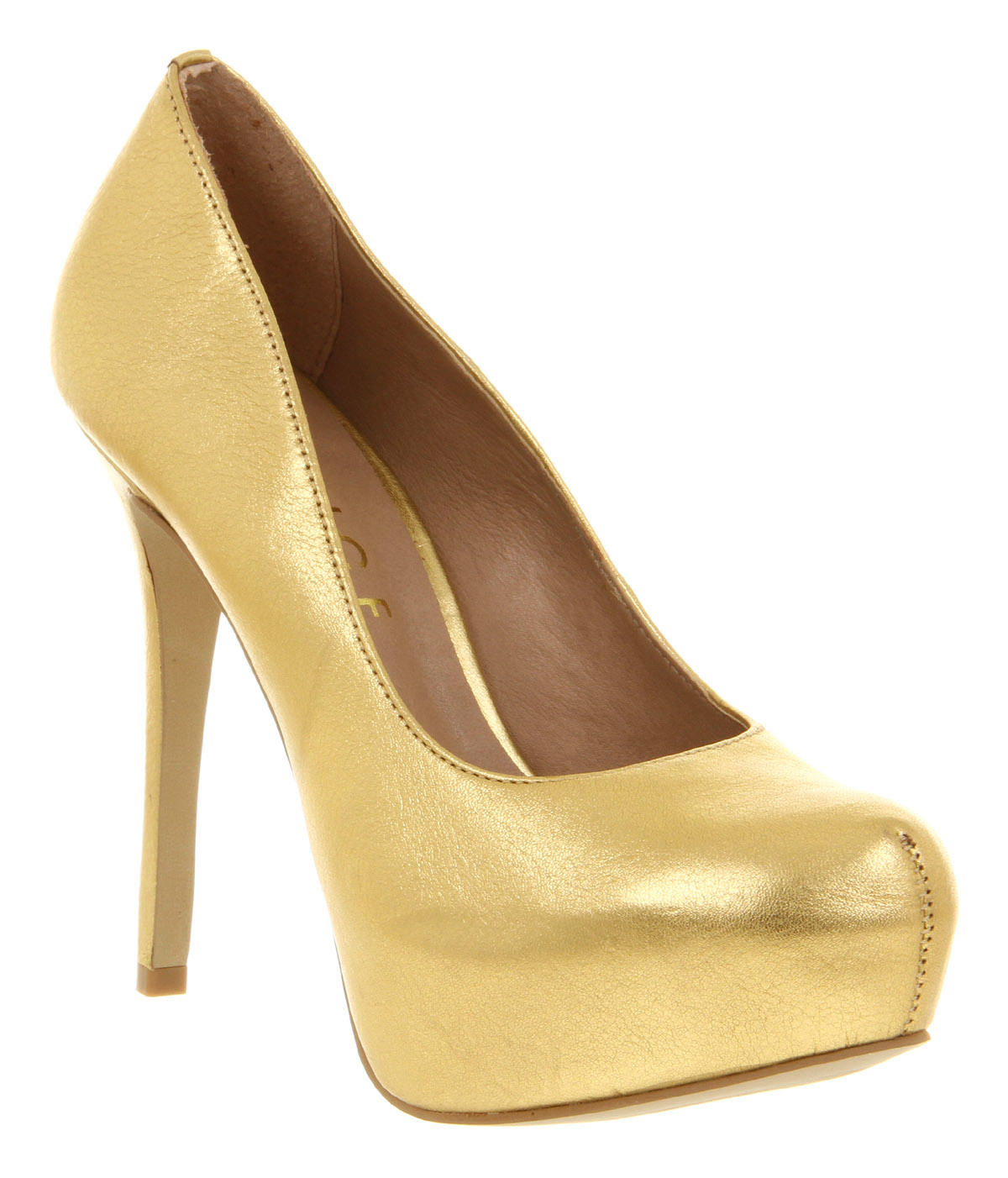 Womens Office After All Gold Tumbled Leaher High Heel Court Shoes ...