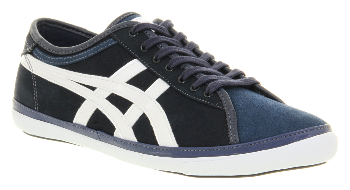 asics biku cv navy blue  white suede casual lace up trainer