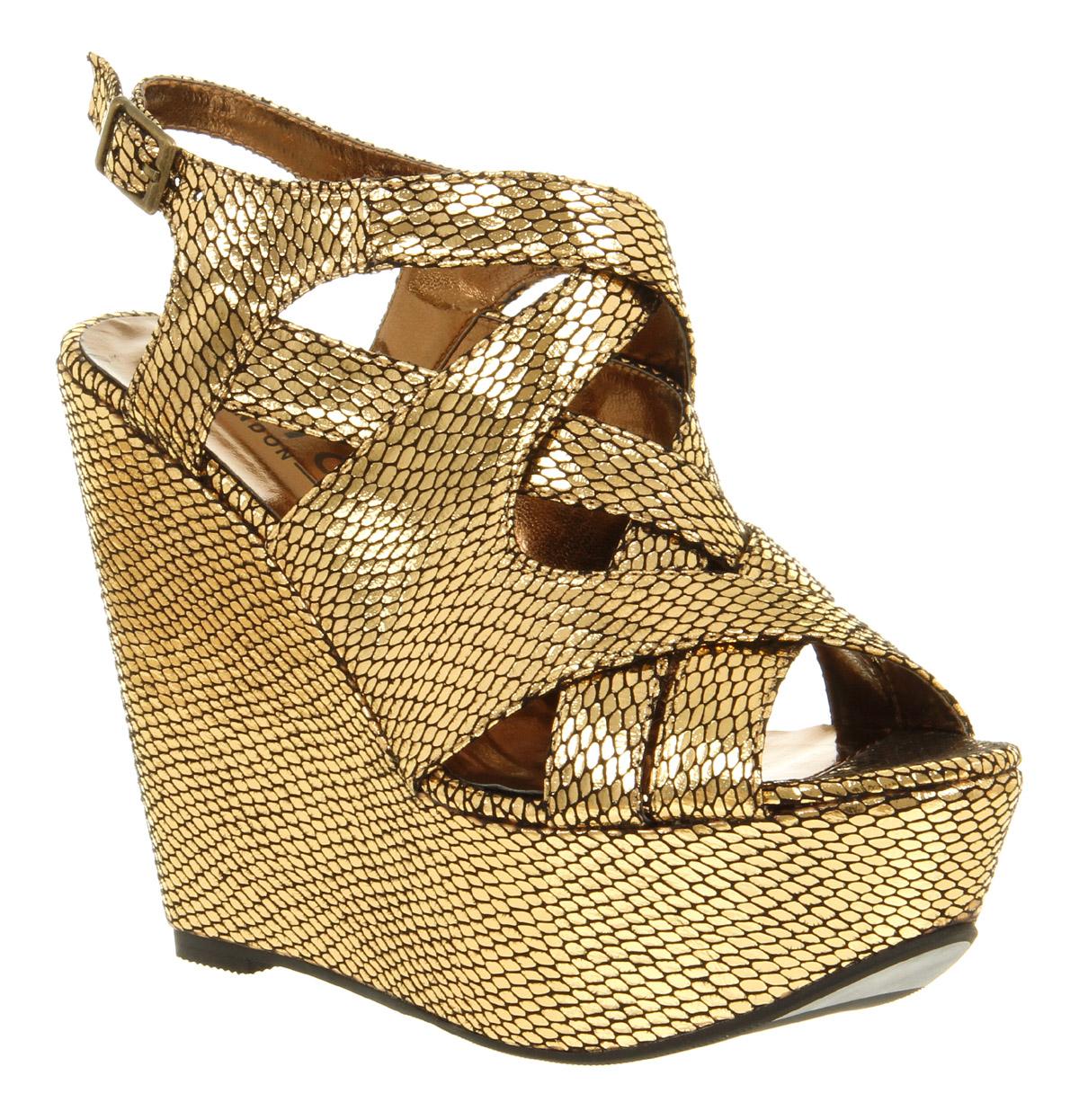Womens Metallic Wedge Shoes