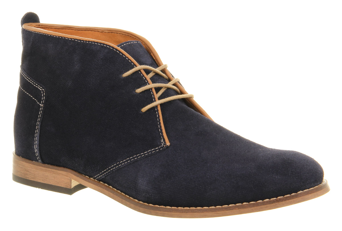 mens h by hudson vasa casual navy blue suede lace up