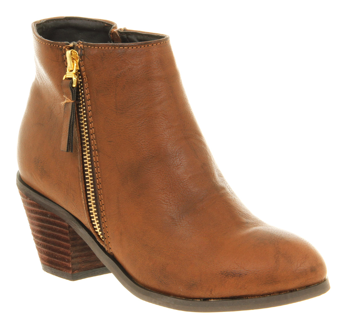Womens Office Nikita Zip Cognac Brown Patent Upper Low Heel Ankle ...