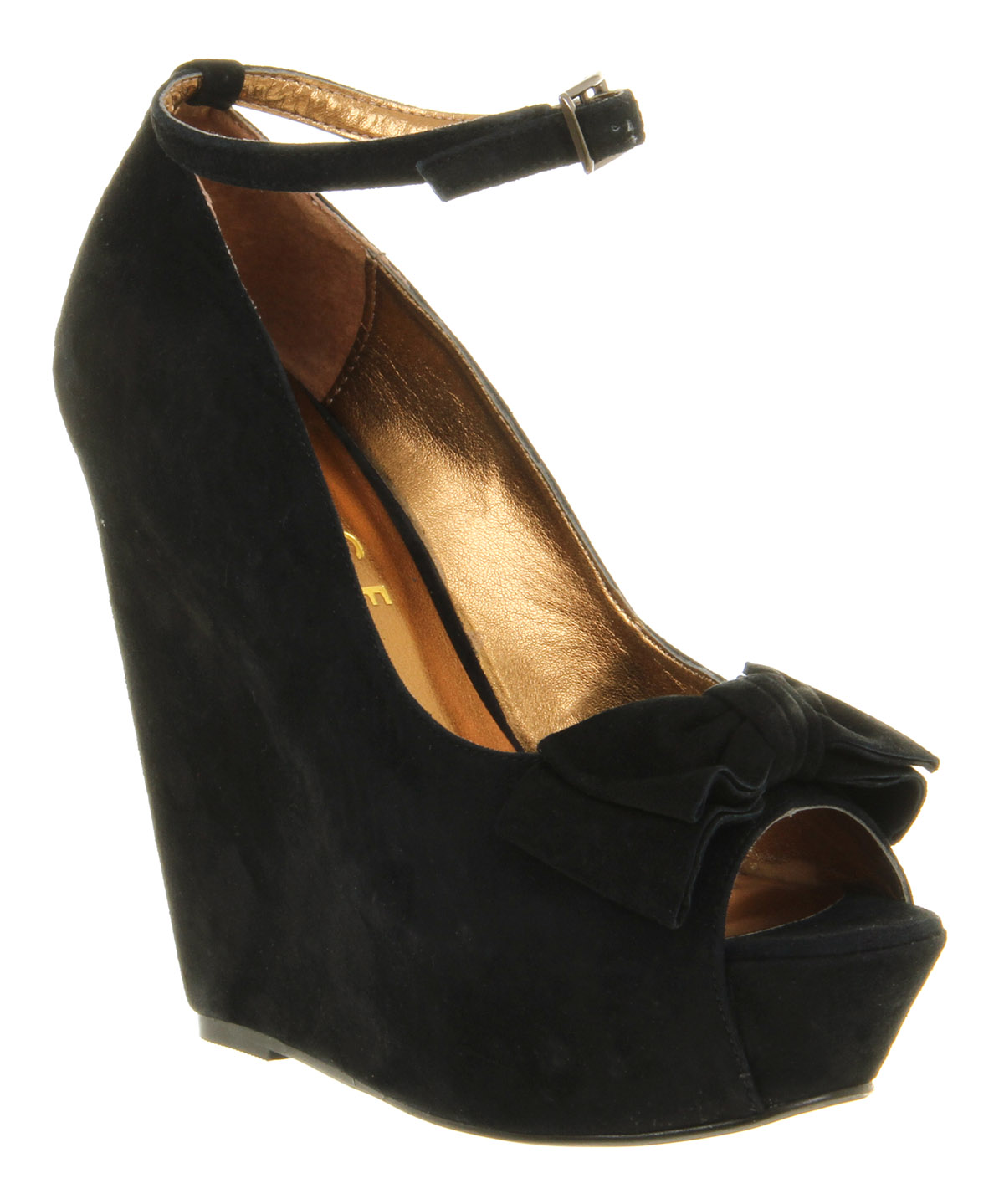 Womens-Office-Wonderland-Black-Suede-High-Heel-Wedge-Shoes