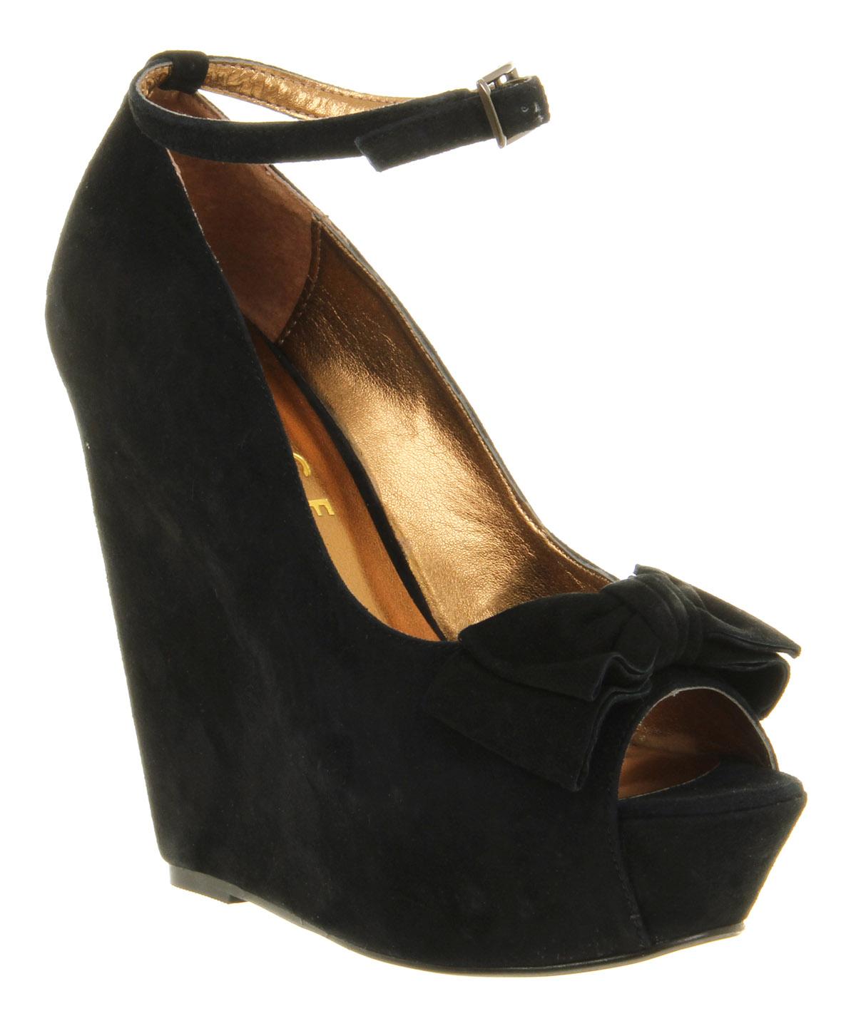 Womens-Office-Wonderland-Black-Suede-High-Heel-Wedge-Shoes