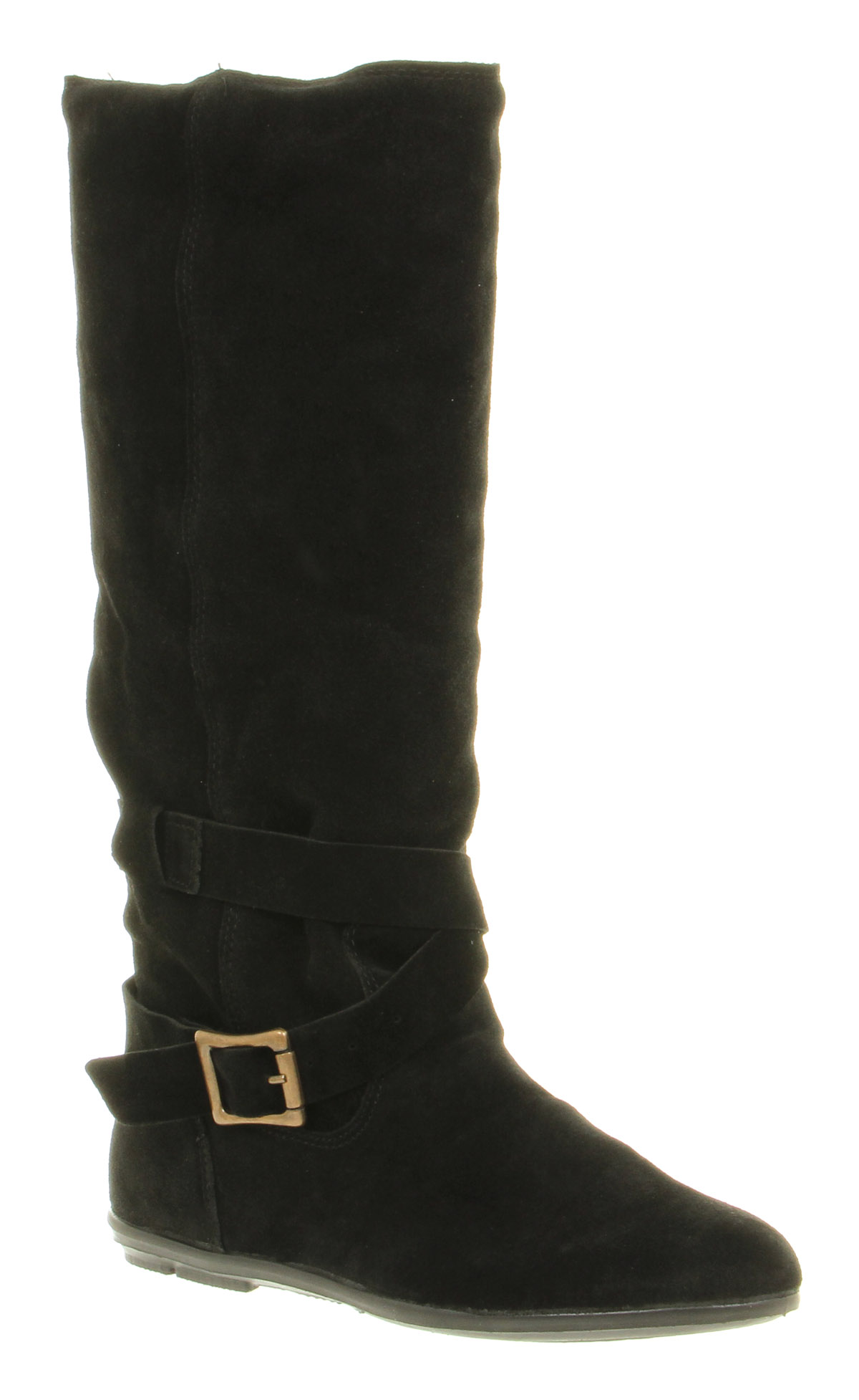Womens-Office-Jupiter-Knee-High-Buckle-Black-Suede-Flat-Slouch-Boots