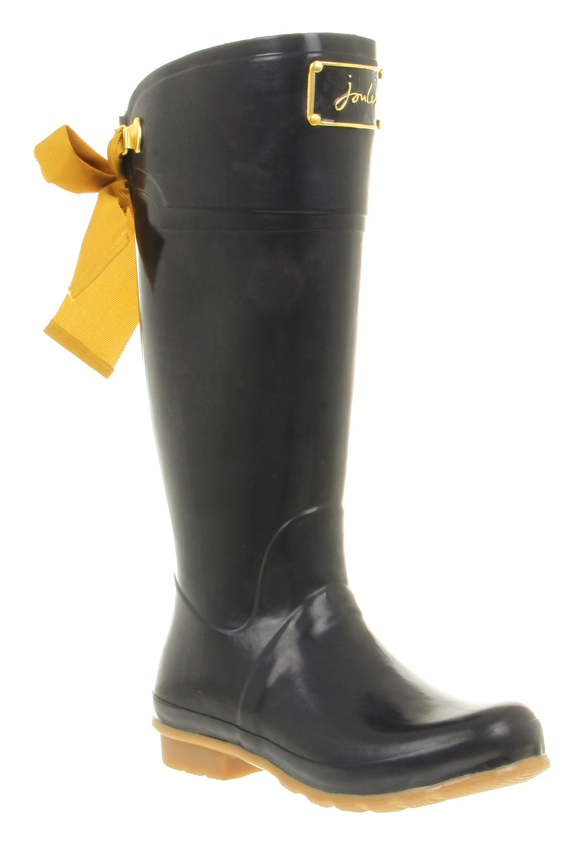 Womens Joules Evedon Welly Golden Bow Detail Navy Rubber