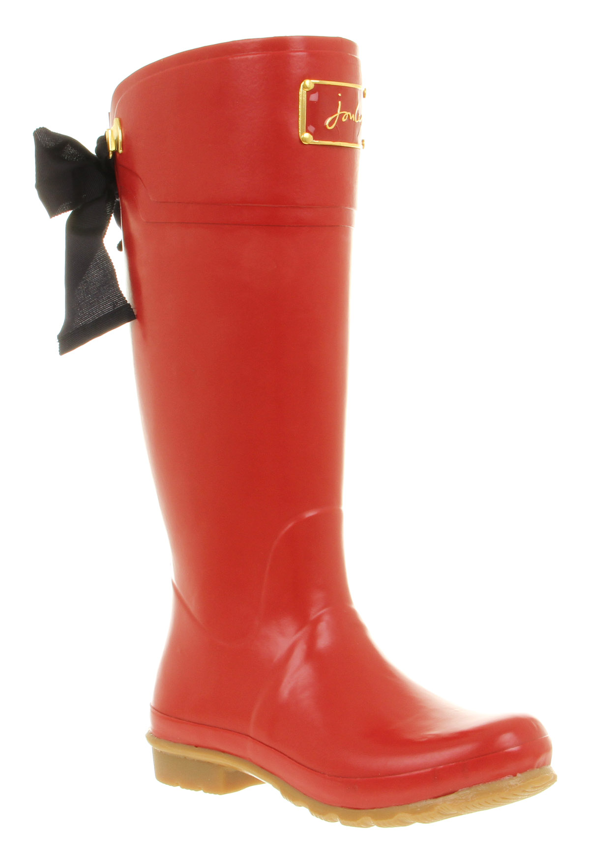 Womens Joules Evedon Welly Black Bow Detail Red Rubber Wellington ...
