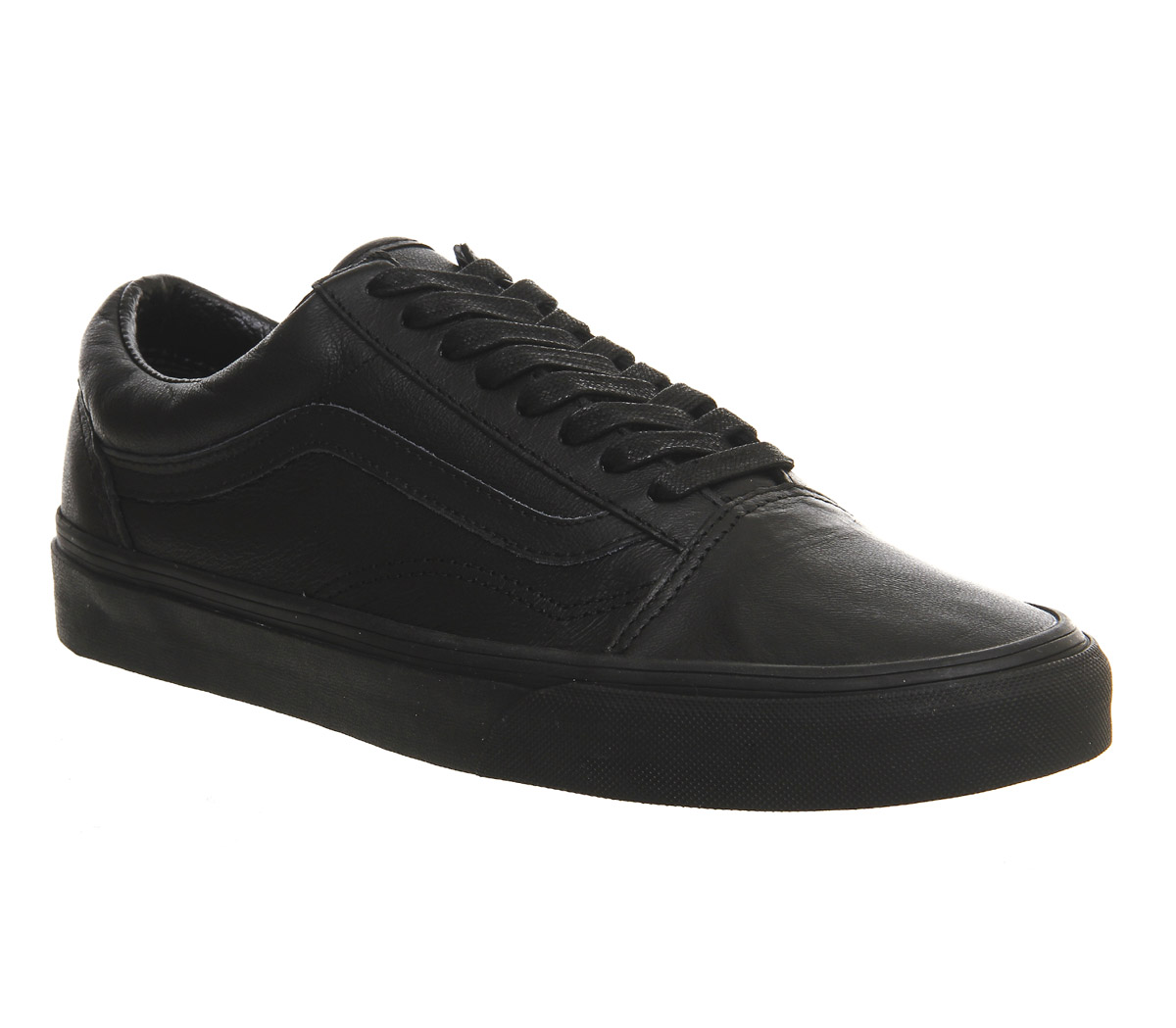 mens vans old skool leather trainers black mono trainers shoes. Black Bedroom Furniture Sets. Home Design Ideas