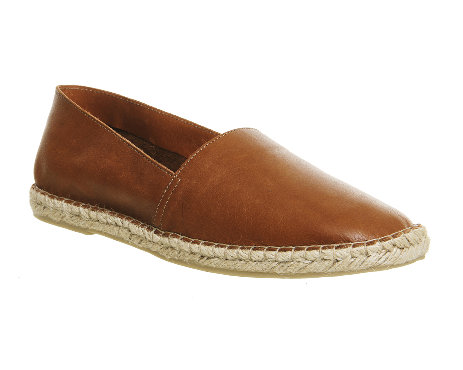 Mens Office Beach Espadrille New Tan Leather Casual