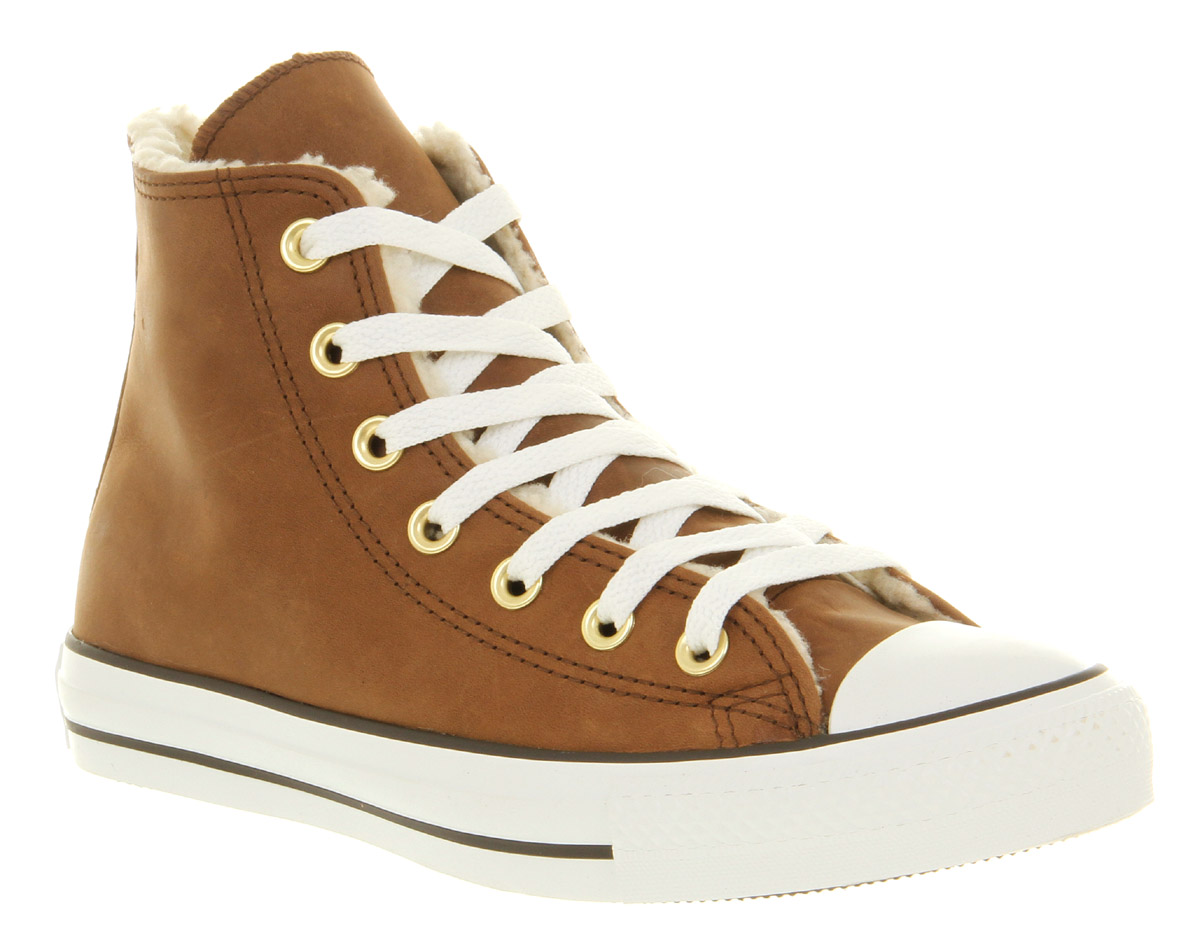 converse chuck all hi brown leather shearling