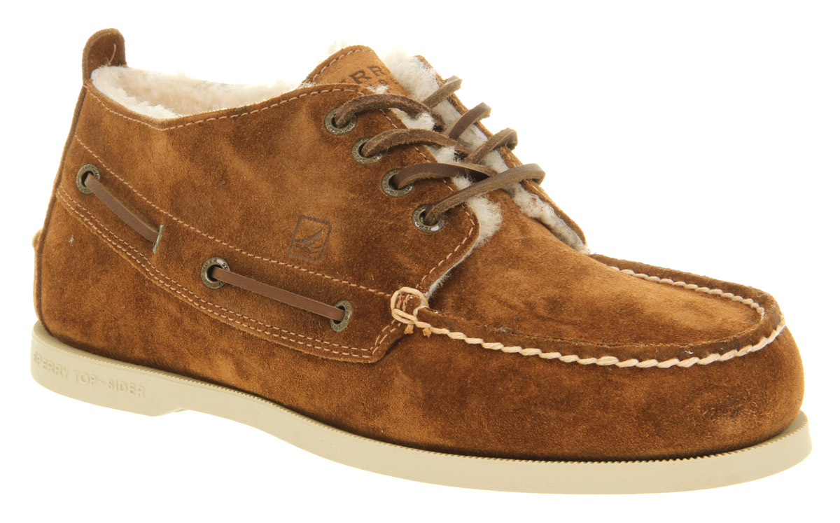 Mens Sperry Top-Sider Chukka A O Tan Suede Shearling Trim Casual ...