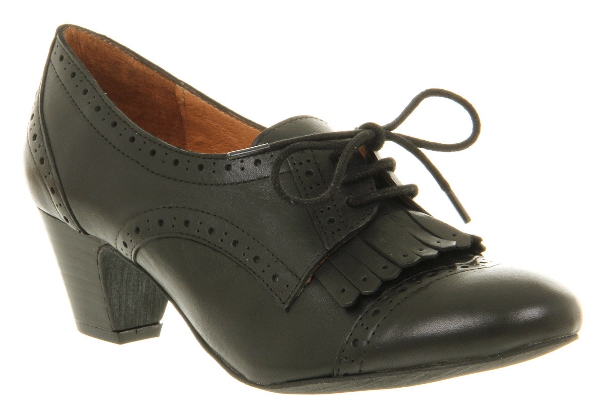 Womens-Office-Veronica-Black-Leather-Heeled-Lace-Up-Brogue-Shoes