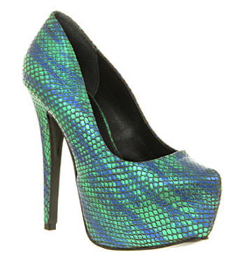Womens-Office-A-Viper-Vision-Green-Blue-Snake-Look-Leather-High-Heel-Court-Shoes