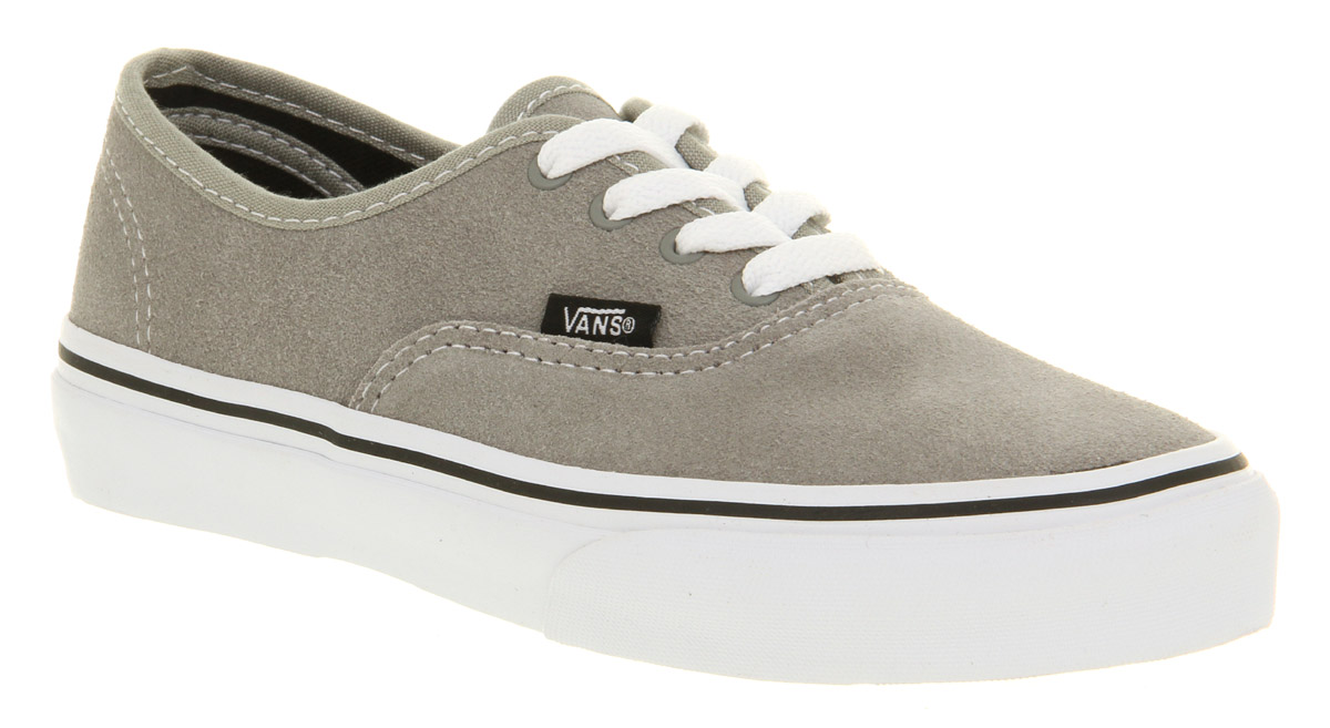 a7270543c9 Kids Vans Authentic Light Grey Suede Casual Lace Up Skate Trainer ...
