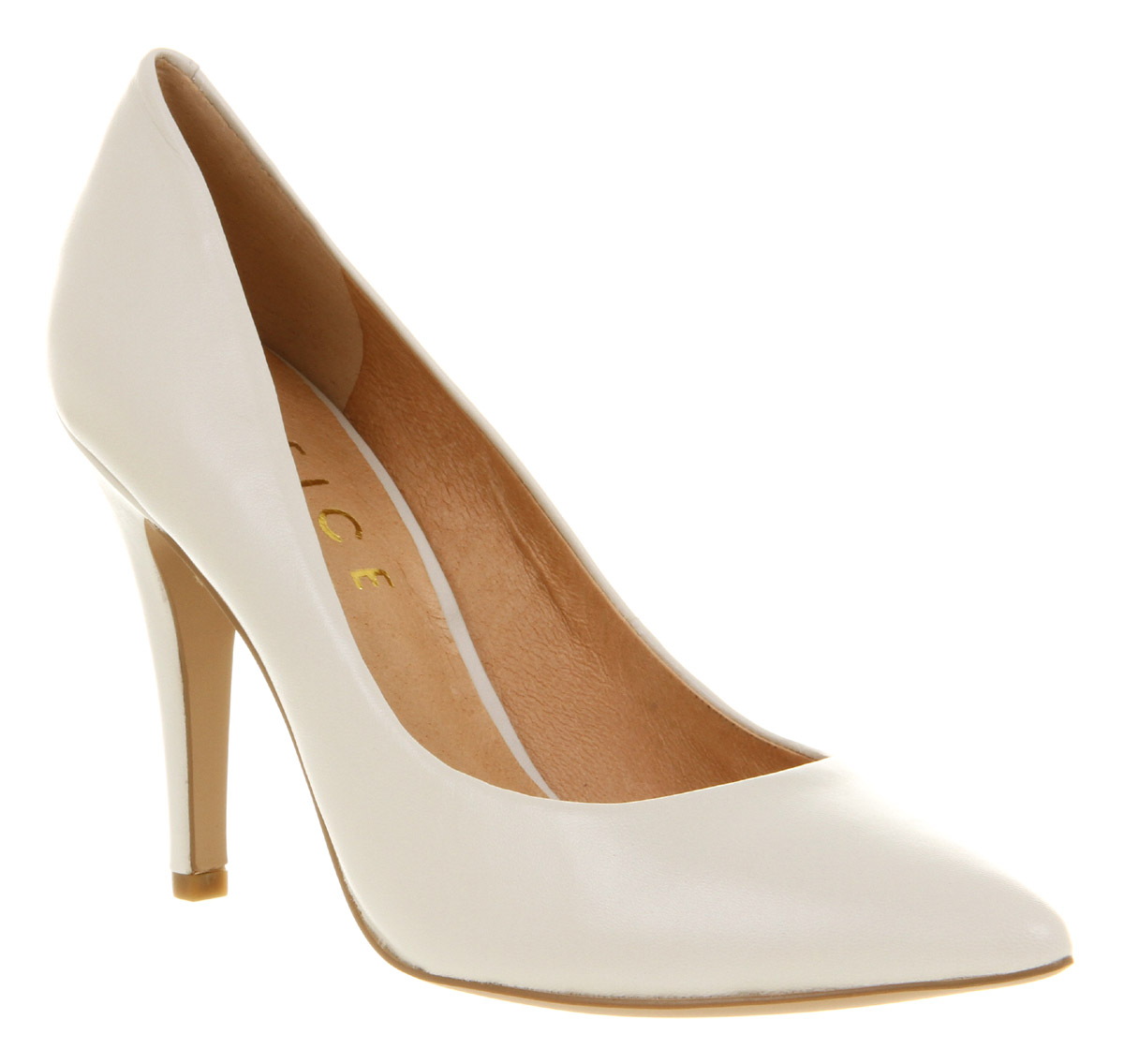 Image is loading Womens-Office-Kandi-Off-White-Leather-High-Heel-