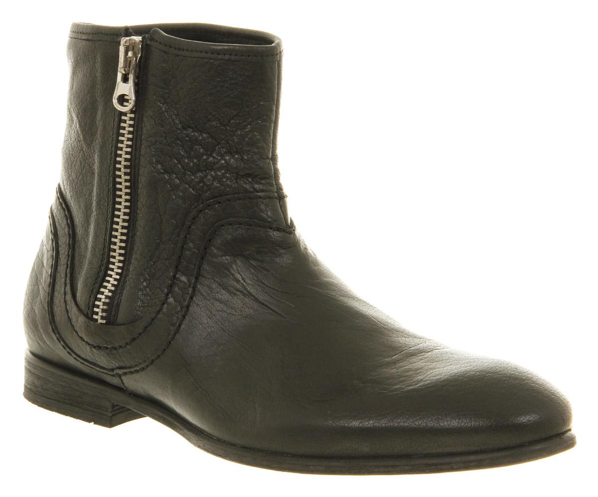 mens h by hudson bekker side zip black leather ankle boots