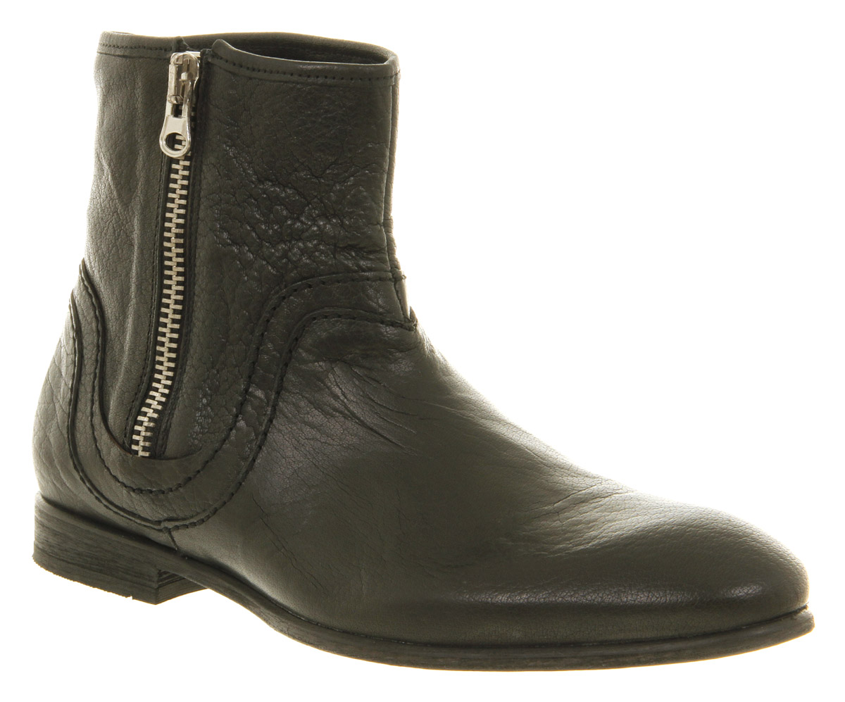 Mens H By Hudson Bekker Side Zip Black Leather Ankle Boots ...
