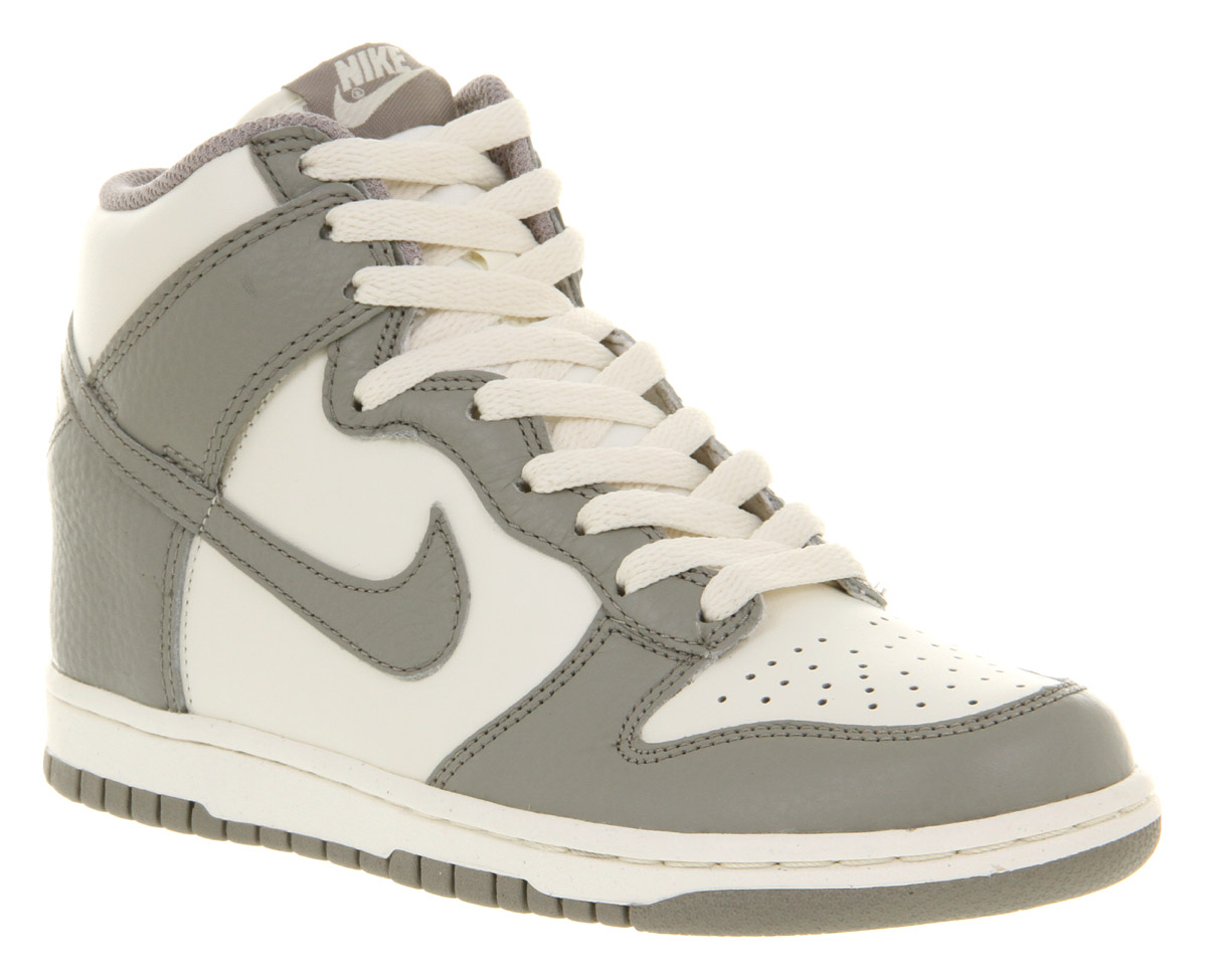 Unisex-Nike-Dunk-Hi-Sail-White-Medium-Grey-Leather-Casual-Lace-Up-Trainer-Shoes