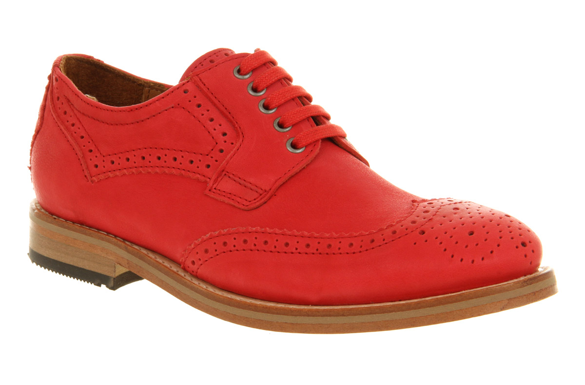 Womens-H-By-Hudson-Olsen-Pink-Calf-Leather-Flat-Lace-Up-Brogue-Shoes