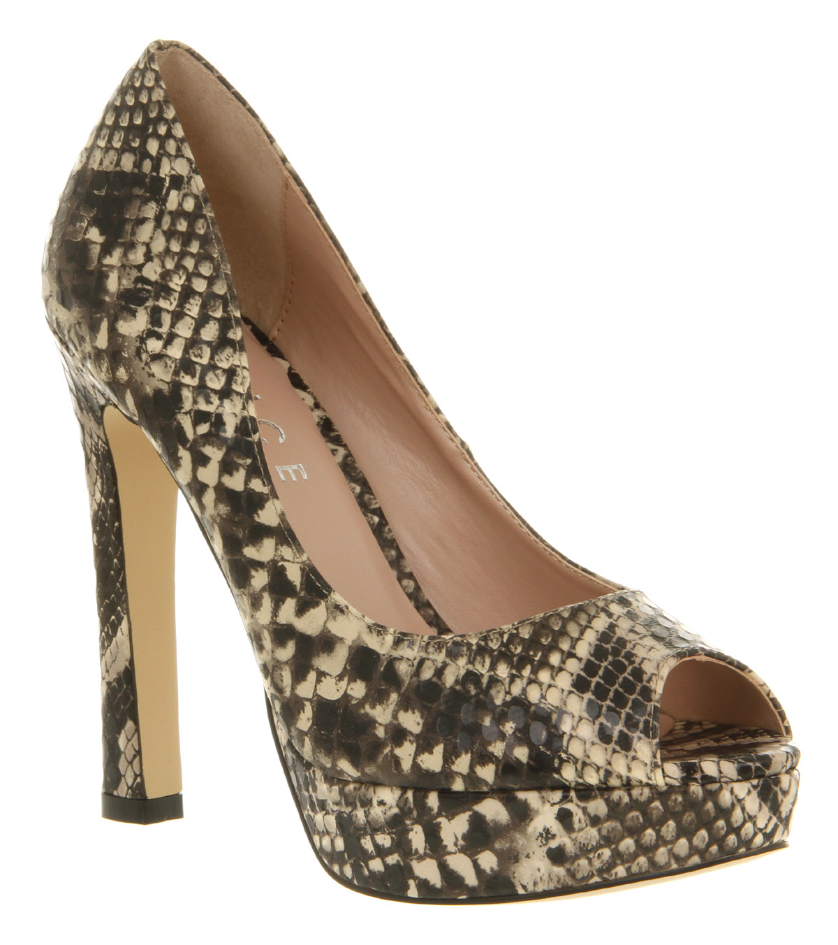 Womens-Office-Kourt-Shoe-Taupe-Snake-Pu-Heels-Shoes