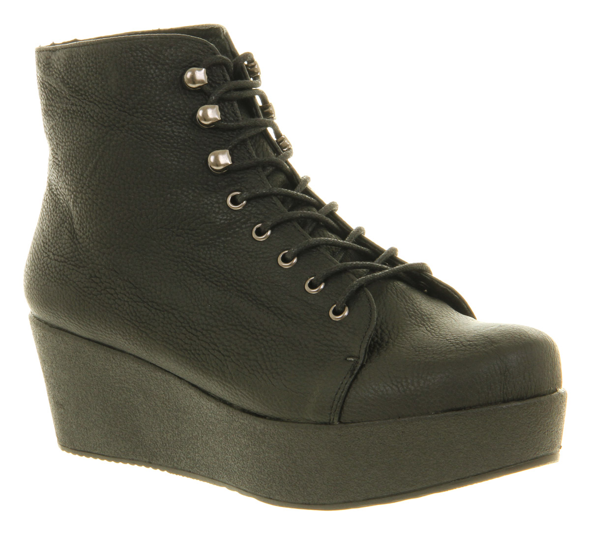 womens office norties black patent lace up platform