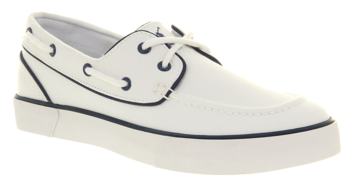 Mens-Ralph-Lauren-Lander-White-Navy-Trim-Casual-2-Eye-Canvas-Boat-Shoes