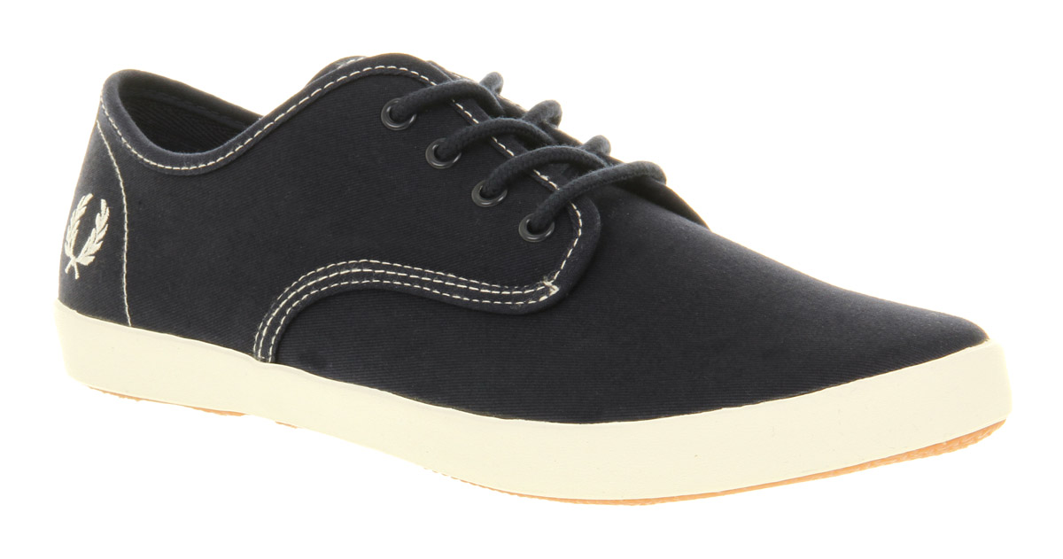 Fred-Perry-Foxx-Canvas-Carbon-Blue-Ecru-Casual-Canvas-Lace-Up-Trainer-Shoes