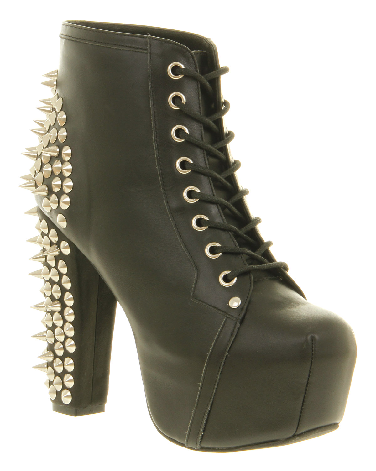 womens jeffrey campbell lita platform black spiked leather ankle boot shoes ebay. Black Bedroom Furniture Sets. Home Design Ideas
