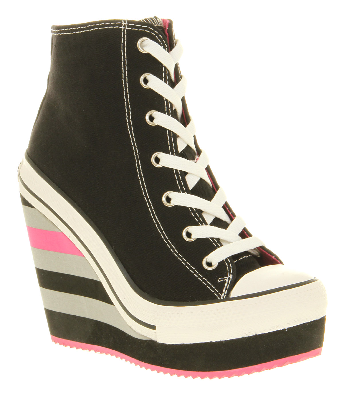 Womens Rock And Candy Lulu Black Canvas Lace Up Trainer Wedge ...
