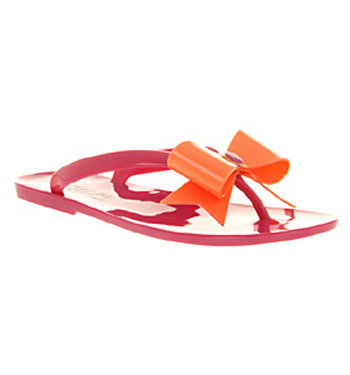 Womens-Ted-Baker-Tied-Pvc-Bow-Sandal-Pink-Orange-Sandals-Shoes