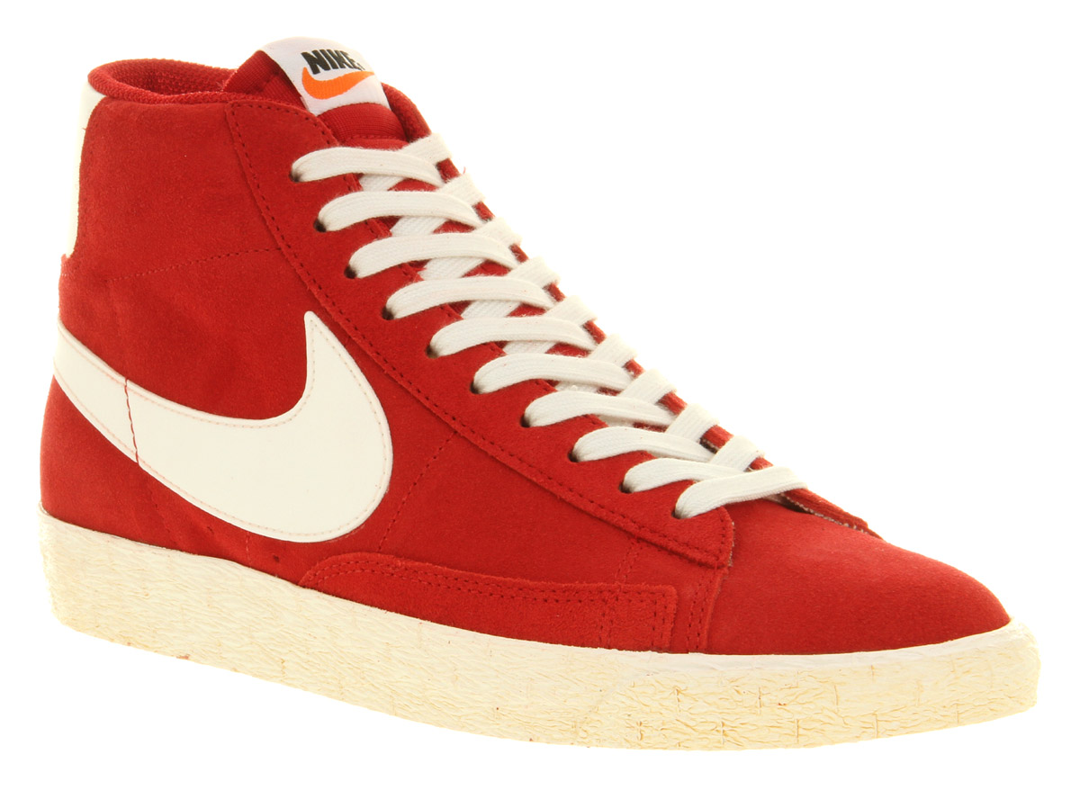 Nike Blazer Chaussures Rouges Daim Cru Salut