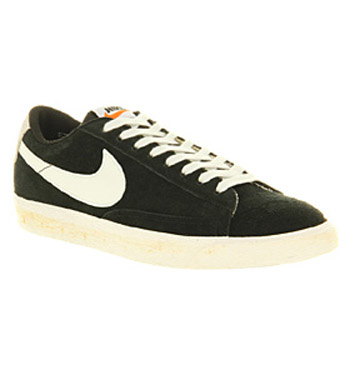 nike blazer black and white low