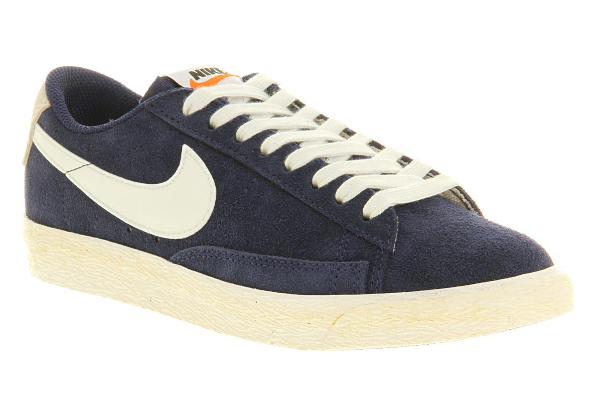 Nike Blazer Bas Formateurs En Daim Vintage - Bleu
