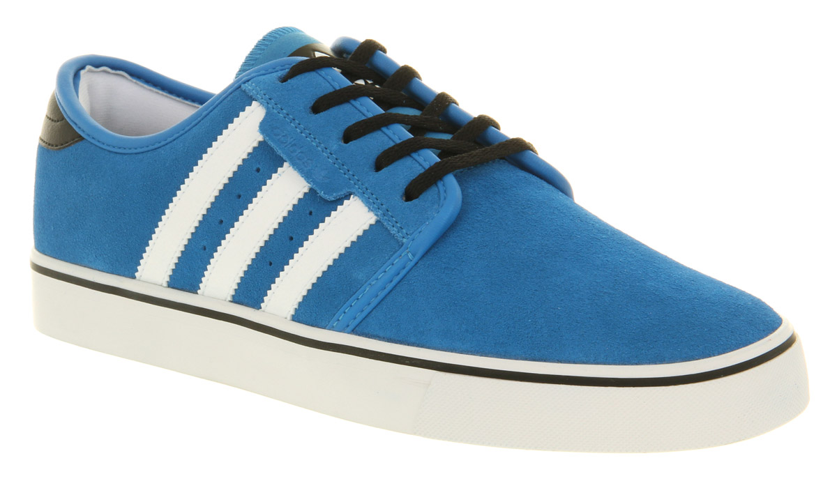 mens adidas seeley pool blue black white casual suede lace