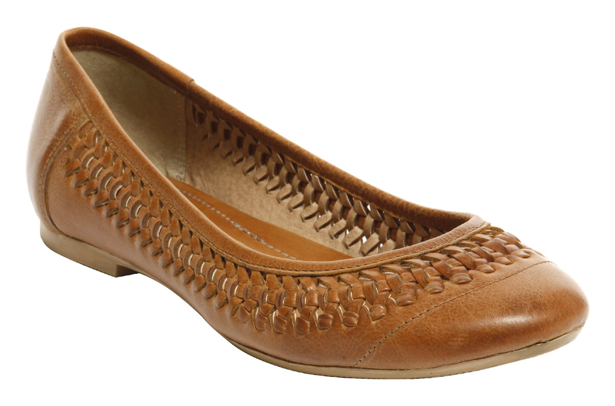 womens office manor weave brown leather slip on flat